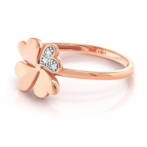 10K Solid Rose Gold White Diamond Clover Shape Women's Engagement Ring