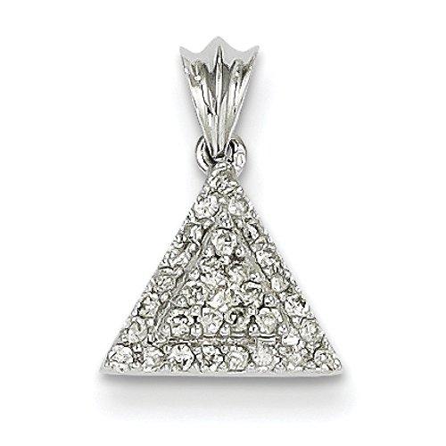 Pendentif en or blanc 14 carats-Diamant JewelryWeb