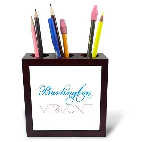 3dRose Alexis Design - American Cities - Burlington, Vermont Patriotic, Decorative, Blue, red Text on White - 5 inch Tile Pen Holder (ph_294808_1) -