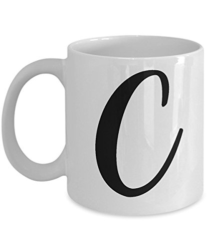Initial Mug - Letter C Monogram - Cute Novelty Monogrammed Coffee Cup - Perfect Personalized Bridal Shower Or Wedding Gift For Women And Men - Unique Name Gift Idea For Tea Lovers - 11 oz ()