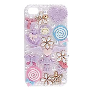 ZL Gypsophila and Lovely Baubles Covered Hard Case with Nail Adhesive for iPhone 4/4S (Assorted Colors) , Pink