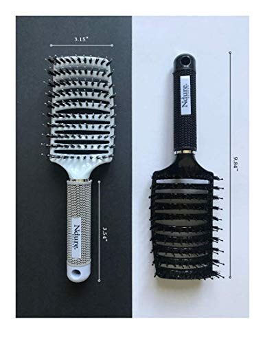Curved Vented Boar Bristle Styling Hair Brush, Single White Brush Anti-static Detangler, Wet or Dry Use, Fast Blow Drying, Use on Long or Short Hair. (2 Pack, White & Black)
