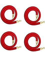 Red Velvet Stanchion Rope Barrier Golden Hook- Set of 4 PCs for Red Carpet Filmroom Wedding (5 Feet Long) Bulk (4)