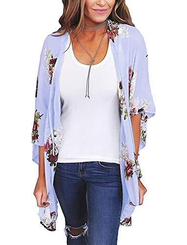 Floral Chiffon (Chunoy Women Summer Loose Short Sleeve Chiffon Floral Kimono Cover Up Light Blue Large)
