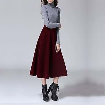 BABUBALA Elegant Autumn Winter Long Wool Skirt For Women