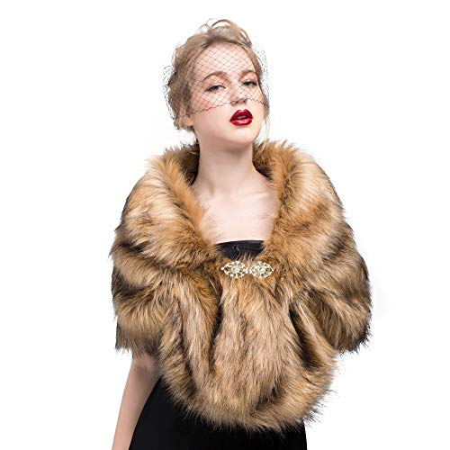 Faux Fur Shawl Wrap Stole Shrug Winter Bridal Wedding Cover Up FOX Fur Size - Brown Coat Fox Fur