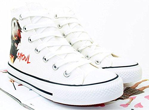 Tokyo Goule Anime Kaneki Ken Cosplay Chaussures Toile Chaussures Sneakers Noir / Blanc Blanc