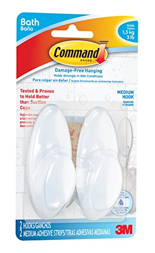 Command BATH18-ES-E 2 Hooks 2 Strips Medium Bath Hook