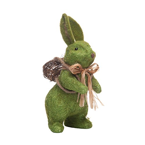 C&F Home Moss Flocked Spring Easter Bunny Rabbit with Twine Bow and Basket 13.5 Inch Decor Decoration Green