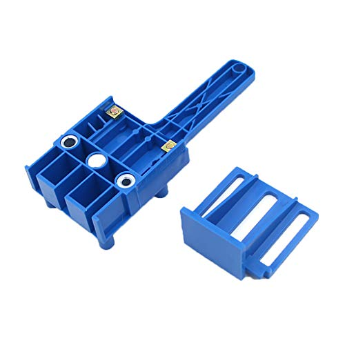 YUBINK Woodworking Dowel Jig Metal Sleeve Straight Hole Locator for Furniture Punching - Improved Chip Evacuation Hole,It is Convenient and Fast to Position,Size:20.5X7.5X5.5cm (Blue)