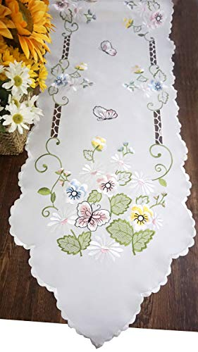 - CloudSun Embroidered Table Runner, Embroidered Flowery Butterfly Dresser Scarf Table Topper 16