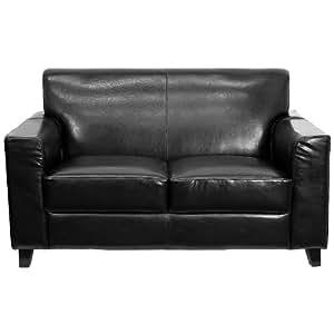 Sofa Cuero Ikea.Flash Furniture Hercules Diplomat Series Black Leather Loveseat