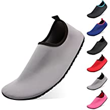Men Women Water Shoes QIMAOO Slip-on Aqua Shoes Adult Outdoor Sport Barefoot Skin Socks with Quick Dry Anti Slip Rubber Sole Summer for Run Pool Dive Garden Park Lake Beach Yoga Surf Swim Gym Exercise
