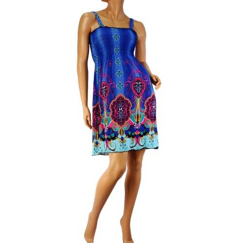 Silky Stretchy Cute Floral Emblem Summer Short Tube Sundress Dress Straps Blue L