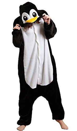ABING Halloween Pajamas Homewear OnePiece Onesie Cosplay Costumes Kigurumi Animal Outfit Loungewear,Black Penguins Adult S -for Height (Animal Halloween Costumes For Adults)