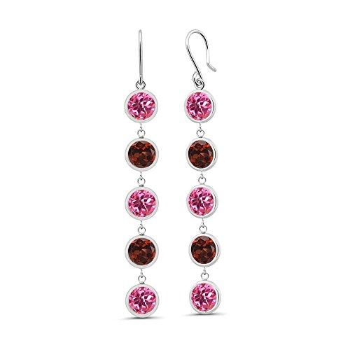 & Pink Earrings Topaz Garnet (5.00 Ct Round Pink Mystic Topaz Red Garnet 925 Sterling Silver Earrings)
