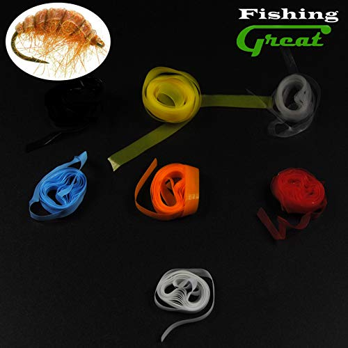 Greatfishing 7 Color/Set Scud Back Fly Tying Material Super Stretch Rubber Thin Film for Nymph Shrimp Pawn Fly Backing Czech Nymph ()