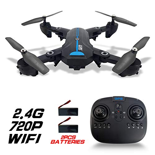 FPV Drone Foldable with HD Camera 720P for Adults, 2.4G Wifi GPS Drones with Camera Live Video and Auto Return Home Flying Toys for Kids Beginners 120°Wide Angle RC Quadcopter Flight Time 30 Mins2 Bat