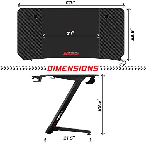 """LEMBERI 63 inch Gaming Desk, Z-Shaped Computer Desk with Free Large Mouse Pad, Professional Game Work Station, PC Gamer Table with USB Gaming Handle Rack, Stand Cup Holder&Headphone Hook (63"""", Black)"""