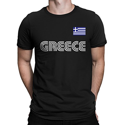SpiritForged Apparel Greece Soccer Jersey Men's T-Shirt, Black Medium