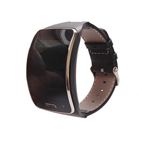 Dreaman Genuine leather Watch Wrist Strap Band For Samsung Gear S SM-R750 Smart (Black)