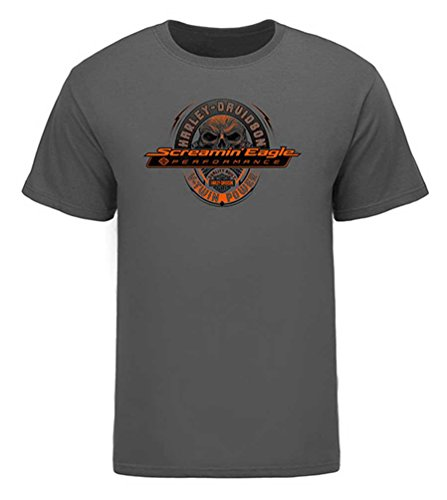Harley-Davidson Men's Screamin' Eagle Glowing Skull Tee, Gray HARLMT0261 (XL) ()