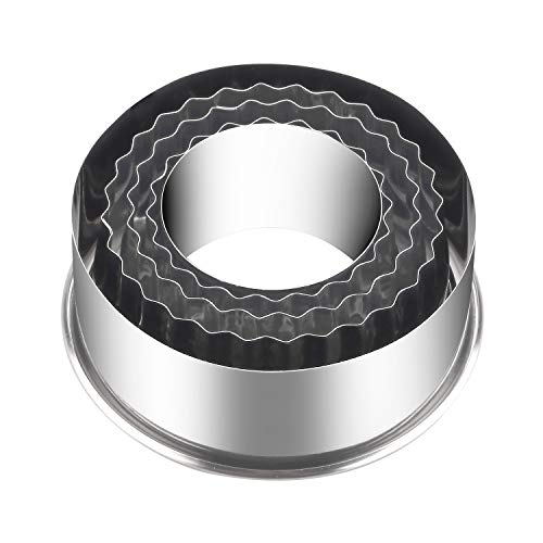 KSPOWWIN Set of 5 Nesting Stainless Steel Fluted & Round Edges Cookie Cutter Set for Cookies, Pastry, Doughnuts & Cake Decoration