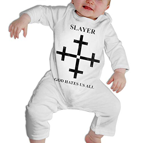 Slayer Onesie (Slayer God Hates Us All Disciple Print Long Sleeves Bodysuit Baby Climbing Clothes)