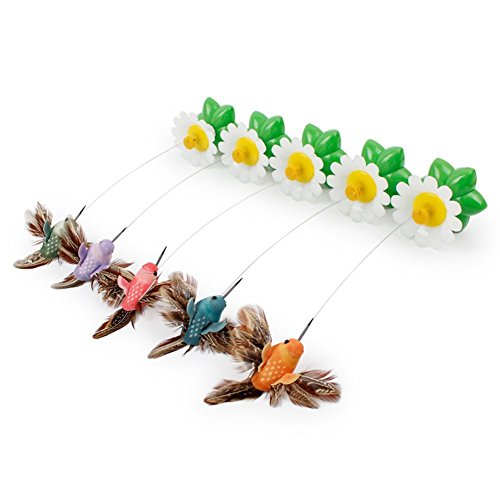 DALAI Pet Electric Rotating Flower Bird Steel Wire Teaser Fly Chasing Interactive Toy well-wreapped