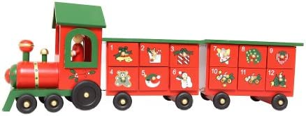 Wooden Advent Train With Two Carriages Christmas Toydecoration