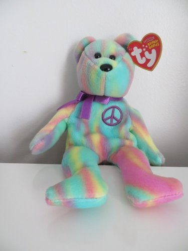 8162f72d9aa Image Unavailable. Image not available for. Color  TY Tie Dye Beanie Baby  PEACE BEAR