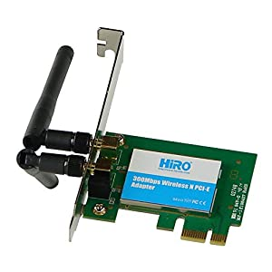 HiRO H50297 Wireless 802.11n WiFi 2T2R 300Mbps Low Profile PCIe PCI Express PCI-E x1 Adapter 2dBi Dipole Antenna Windows 10 8.1 8 7 32-bit 64-bit