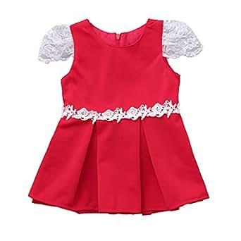 6226c2e1f Sayla Bebé Niña Princesa Vestidos Verano Ropa Moda Fiesta NiñO PequeñO Bebé  De Encaje SóLido De La Manga Mosca Vestido De Vestir Princesa Vestidos  ...