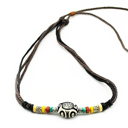 Real Spark Unisex Retro Tribal Rope Collar Colorful Beads Pendant Religious Choker Adjustable (Homemade Costumes Tin Man)