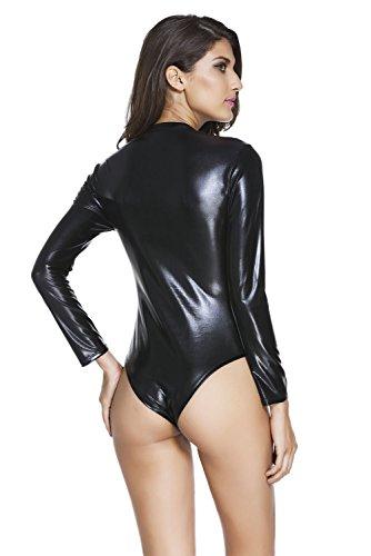 Neue Damen Schwarz Wet Look Vorne mit Reißverschluss Lange Ärmel Teddy Body Dessous Monokini Gymnastikanzug Teddies Pole Dance Größe S UK 8