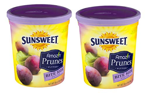 Sunsweet Amazin Prunes, Bite Size Pitted Prunes Bundle, 2 16 oz Canisters of Dried Plums Plus