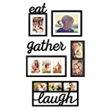 """WallVerbs 6-Piece """"Eat Gather Laugh"""" Photo Frame Set l Great Way to Display Some of your Favorite Memories"""