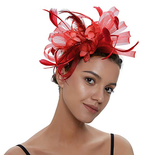 - Sinamay Vintage Women Fascinators Derby Hat Feather with Headband Cocktail Headpiece for Tea Party Wedding (One Size, Red Style 2)