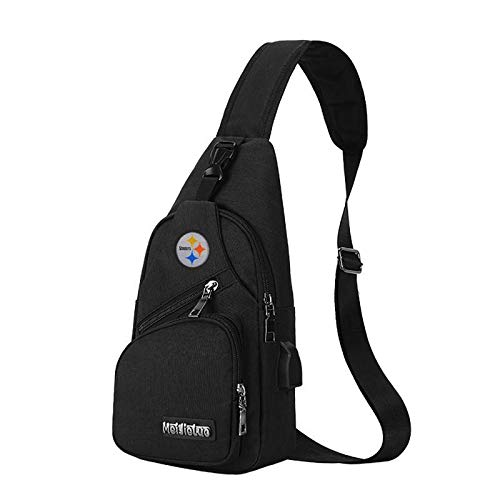 CHNNFC NFL Unisex Black Sling Backpack Chest Bag Travel Hiking Daypack for Outdoor Sports Camping - Pittsburgh Steelers