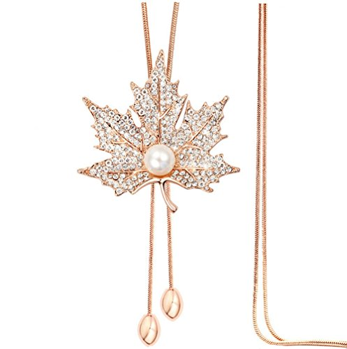 (TULIP LY Sweet Crystal Maple Leaf Pendant Necklace Pearl Adjustable Bohemian Style Flower Tassel Long Chain Sweater Necklace (Alloy-Plated-Rose Gold))