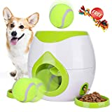 FDA Interactive Tennis Ball Throwing Fetch Machine for Dogs&Cats Food Dispensing Reward Toy Game Toys Animal Training Tool Pet Slow Feeder Puzzle (Green New) (Green)