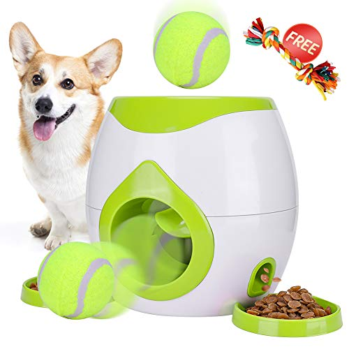 Dog Ball Machine - FDA Interactive Tennis Ball Throwing Fetch Machine for Dogs&Cats Food Dispensing Reward Toy Game Toys Animal Training Tool Pet Slow Feeder Puzzle (Green New) (Green)