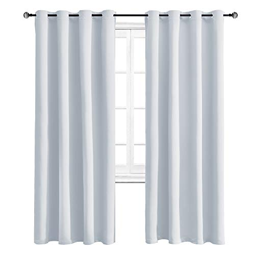 (WONTEX Blackout Curtains Room Darkening Thermal Insulated Living Room Curtains, 52 x 84 inch, Greyish White, 2 Grommet Curtain Panels)
