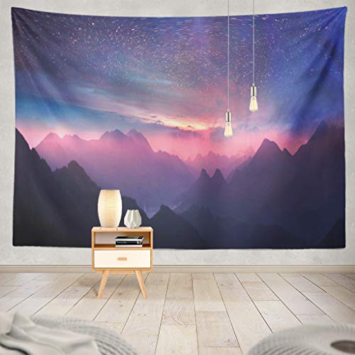 "ONELZ Wall Hanging Tapestry Wild Away Magical Whirling Stars Slow Shutter Sunsets Mountain Waves Decor Collection Bedroom Living Room 60"" L x 80"" W Polyester & Polyester Blend"