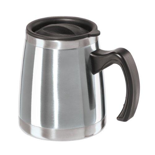 Oggi Luster Double Wall Stainless Steel Desk Mug, 16-Ounce, Silver