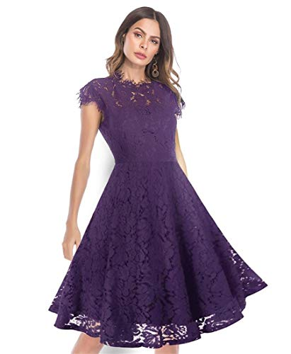 Women's Sleeveless Floral Lace Slim Evening Cocktail Mini Dress for Party DM261 (XL, Purple Swing) ()