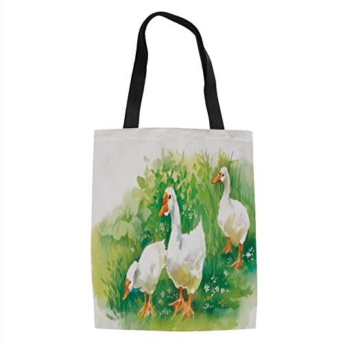 IPrint Duck,Goose in Farm Lake Plants Grass Reeds Flowers Pond Animals Geese Feathers Life,Green and White Printed Women Shoulder Linen Tote Shopping Bag
