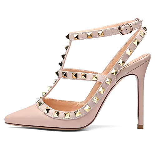 Chris-T Women Pointed Toe Studded Strappy Slingback High Heel Leather Pumps Stilettos Heeled Sandals Nude/Nude Strap Size 12US