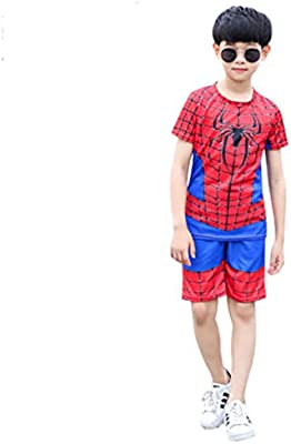 ZHANGQI Marvel Spiderman Camiseta Infantil Traje Pantalones Cortos ...