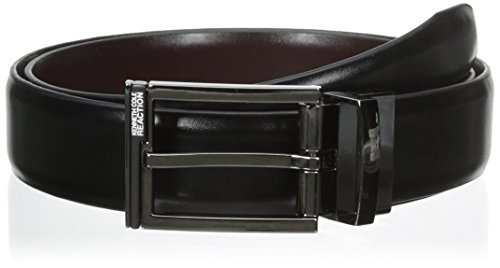 Kenneth Cole REACTION Men's 1 1/4 in. Feather Edge Dress Reversible Belt, Black/Burgundy, 40